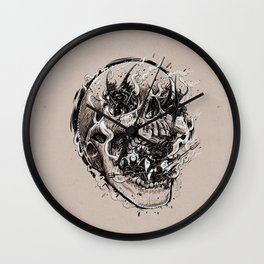 skull with demons struggling to escape Wall Clock