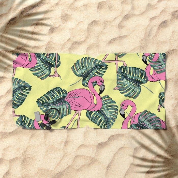 tropical leaves with flamingo Beach Towel