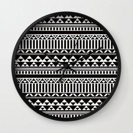 Mountain Stripe Kilim in Black + White Wall Clock