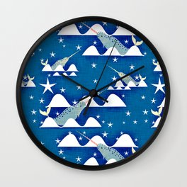 Sea unicorn - Narwhal blue Wall Clock