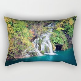 Waterfall And Lake in Autumn Forest Rectangular Pillow
