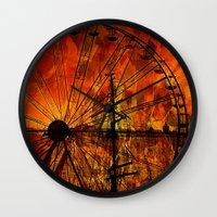 ferris wheel Wall Clocks featuring Ferris wheel by  Agostino Lo Coco