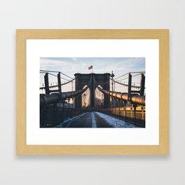 Brookyn Bridge Sunrise Framed Art Print