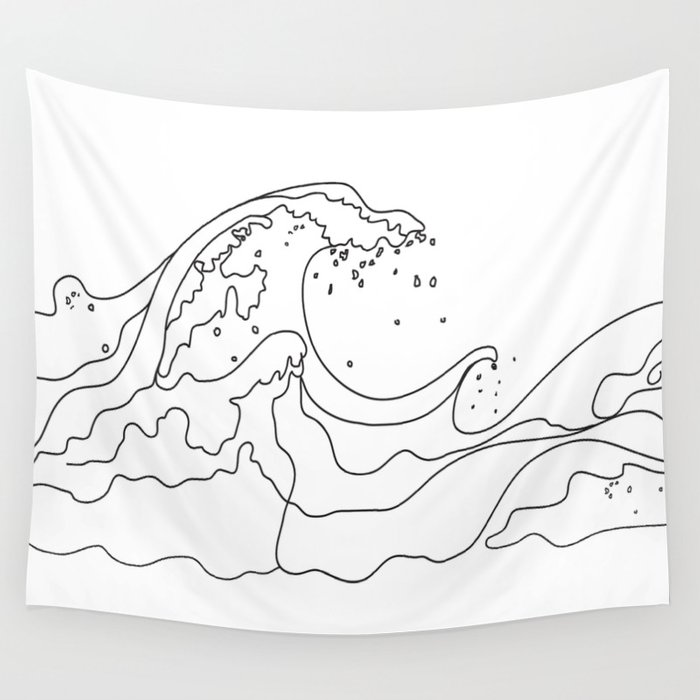 Minimal Line Art Ocean Waves Wall Tapestry