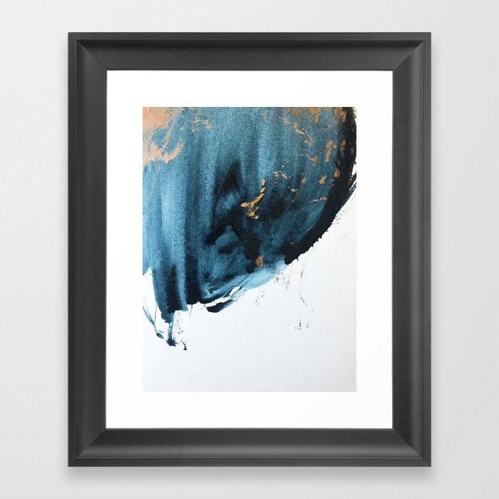 497f5f6e0ebd Sapphire and Gold Abstract Framed Art Print by blushingbrushstudio ...