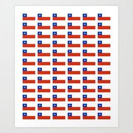 Flag of Chile 3-Spanish,Chile,chilean,chileno,chilena,Santiago,Valparaiso,Andes,Neruda. Art Print