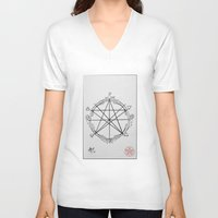 pentagram V-neck T-shirts featuring Elemental Pentagram by sparkplug95
