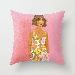 Girl who Loves Jumpsuits Throw Pillow