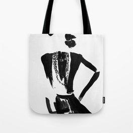 Gabrielle portrait minimalist, pearls, little black dress Tote Bag