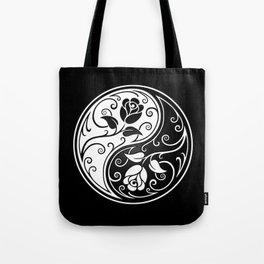 Black and White Yin Yang Roses Tote Bag