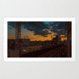 Tokyo Nights / Sunset over Fuji / Liam Wong Art Print