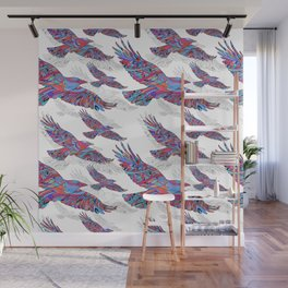 Seamless pattern of Hand-drawn crows with ethnic floral pattern. Abstract background Wall Mural