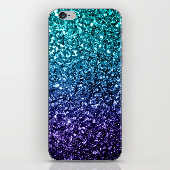 Beautiful Aqua blue Ombre glitter sparkles iPhone Skin