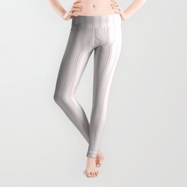 Light Soft Pastel Pink and White Mattress Ticking Leggings
