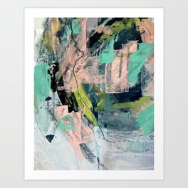 Connect [4] : a vibrant acrylic abstract in neon green, blues, pinks, & hints of orange Art Print