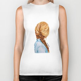 Blonde Fishtail Braid Girl Drawing  Biker Tank