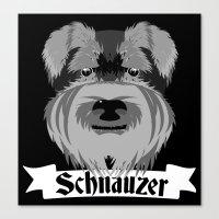 schnauzer Canvas Prints featuring Schnauzer by mailboxdisco