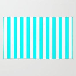 Vertical Stripes (Aqua Cyan/White) Rug