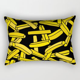French Fries on Black Rectangular Pillow