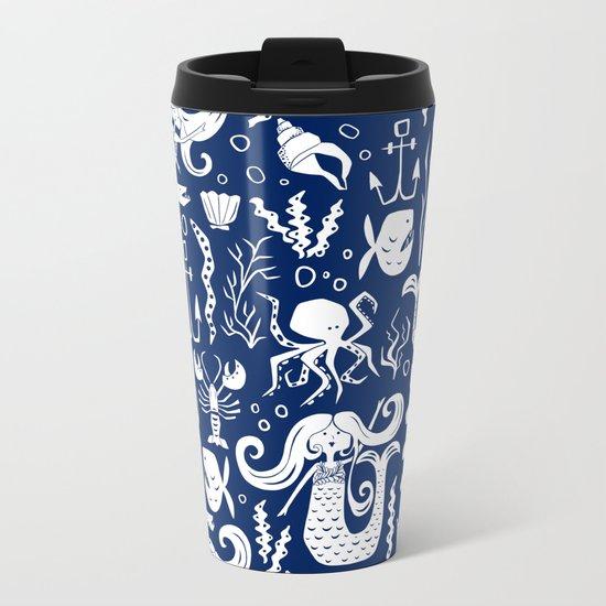 Under The Sea Navy Blue Metal Travel Mug