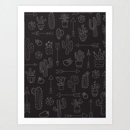 Hand Drawn Cacti Pattern B&W Art Print