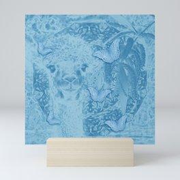 Ghostly alpaca with butterflies in snorkel blue Mini Art Print