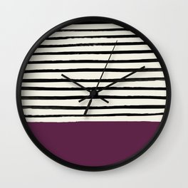 Plum x Stripes Wall Clock