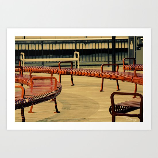 Red Benches Art Print