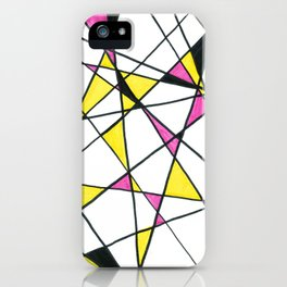 Geometric Neon Triangles - Pink, Yellow & Black iPhone Case