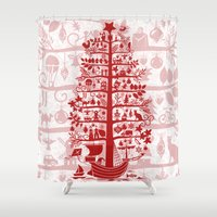 blankets Shower Curtains featuring CHRISTMAS TREE red ITINERANT by Chicca Besso