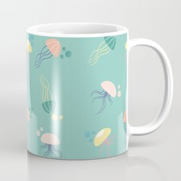 Colorful pastel jellyfish in a seamless design Coffee Mug