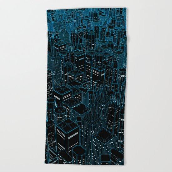 Night light city / Lineart city in blue Beach Towel