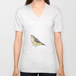 Nuthatch Bird Illustration Unisex V-Neck