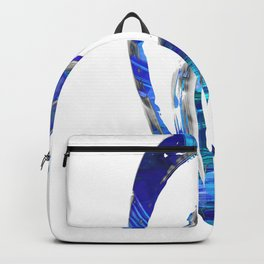 Blue Gray And White Art - Flowing 1 - Sharon Cummings Backpack