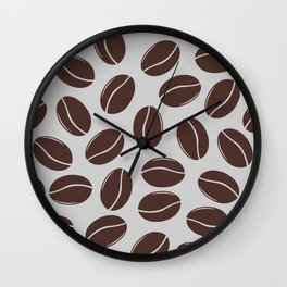 Modern seamless pattern with coffee beans Wall Clock