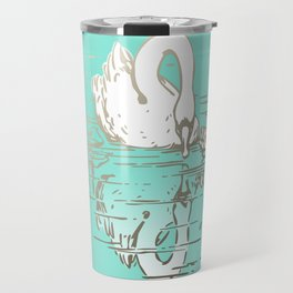 Beautiful Swan Reflection - Riptide Aqua Travel Mug