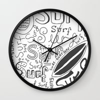 surf Wall Clocks featuring Surf by Made by Tom