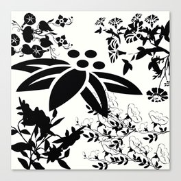 Damask Black and White Toile Floral Graphic Canvas Print