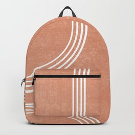 Mid Century Modern 2 - Geometrical Abstract - Minimal Print - Terracotta Abstract - Burnt Sienna Backpack