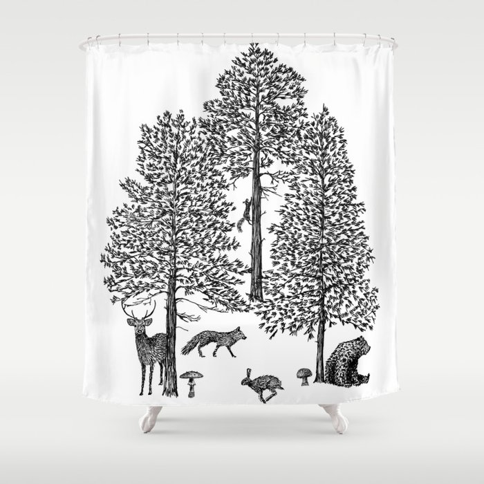 Vintage Woodland Animals Shower Curtain By Sarahlokke