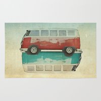 ying yang Area & Throw Rugs featuring VW Kombi Ying and Yang by Vin Zzep