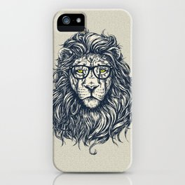 Hipster Lion with Glasses iPhone Case