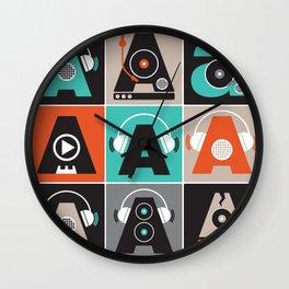 Audio vintage music typography illustration Wall Clock