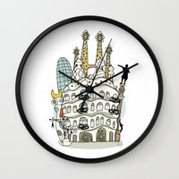 barcelona Wall Clocks featuring Barcelona by Jaume Tenes