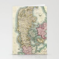 denmark Stationery Cards featuring Vintage Map of Denmark (1801)  by BravuraMedia