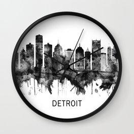 Detroit Michigan Skyline BW Wall Clock