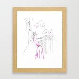 Blonde Highlights City Girl  Framed Art Print