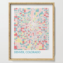Denver Colorado Colorful Mosaic Map Serving Tray