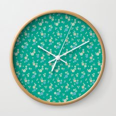 blossom ditsy in emerald Wall Clock