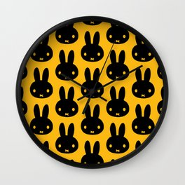 bunnies everywhere ultra pattern Wall Clock